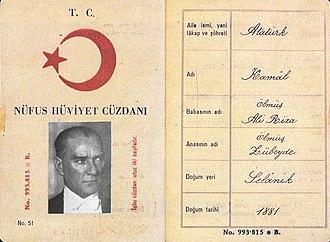 Mustafa Kemal Atatürk's personal life - Atatürk's last national identification. He specified the date himself.