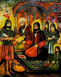 Audience with Imam Hossein (cropped) by Hossein Qollar Aqasi, Reza Abbasi Museum.jpg