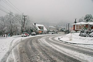 2011 New Zealand snowstorms - Snow in the Upper Hutt City suburb of Pinehaven during 16 August