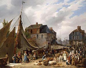 Embarquement de bestiaux sur le passager dans le port de Honfleur