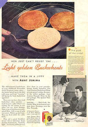 Aunt Jemima - Advertisement for buckwheat pancake mix, circa 1932