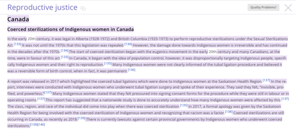 Authorship highlighting of student edits to Reproductive justice on English Wikipedia