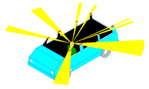 Vehicle blind spot - 40° angle A-pillar bar blind spots