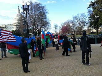 Azerbaijani diaspora - Azerbaijani Americans protesting near the U.S. Capitol, Spring 2013.