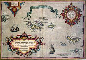 History of the Azores - Old map of the Azores Islands.