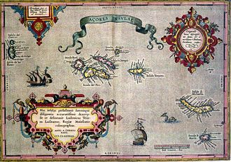 Azores Voyage of 1589 - Map of the Azroes from 1585