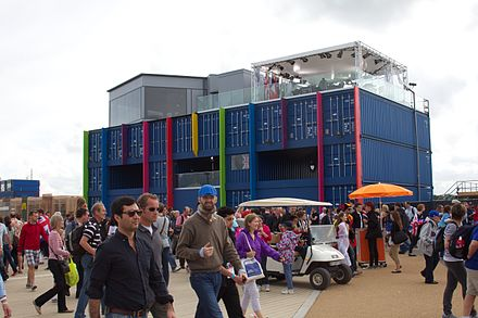 The BBC One and BBC Three 2012 Summer Olympics studios at the Olympic Park BBC 2012 Summer Olympics studio.jpg
