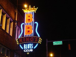 English: Sign for B.B. King's Blues club on Be...