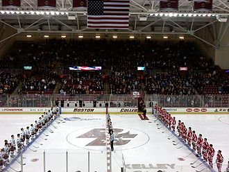 Boston College Eagles men's ice hockey - BC and BU before the start of a game at Kelley Rink on January 22, 2010.