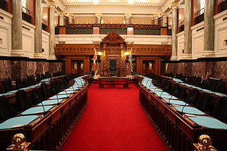 British Columbia Parliament Buildings - The legislative chamber inside the Parliament Building