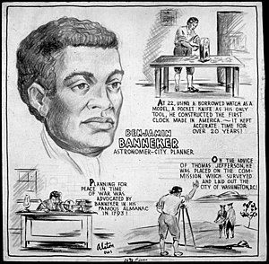"""Mythology and legacy of Benjamin Banneker - Benjamin Banneker cartoon by Charles Alston, 1943, claiming that Banneker had been a """"city planner"""", """"was placed on the commission which surveyed and laid out the city of Washington, D.C."""", and had """"constructed the first clock made in America""""."""