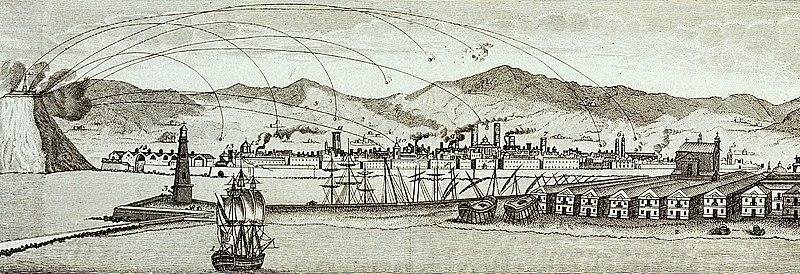 Bombardement de Barcelone depuis la citadelle de Montjuic en 1842.
