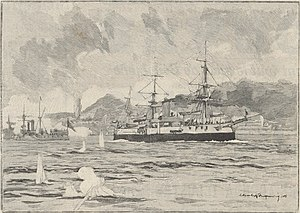 Brazilian battleship Aquidabã - The Aquldaban bombarding the forts of Rio de Janeiro (drawing of Fouqueray, according to a photography, published in Le Monde Illustré, nº 1.916, 1893.).