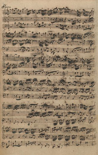 Organ Sonatas (Bach) - Autograph manuscript of first page of last movement of organ sonata 5, BWV 529