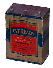 "Eveready #762-S 45 VoltsRadio ""B"" Battery (Portable size)L 4.125"" W 2.5"" H 5.75"" ca. 1942"