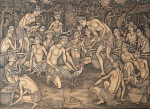 Indonesian art - Traditional Balinese painting depicting cockfighting