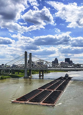 A barge heads east on Ohio River in Louisville, Kentucky. Barge on Ohio River.jpg