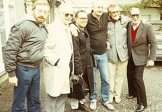 """Paul Barrett - Barrett pictured with Bill Haley's Original Comets during 1980 UK filming of """"Blue Suede Shoes"""""""