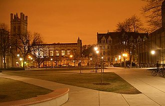 College of the University of Chicago - Campus lights illuminate the Bartlett Quadrangle.
