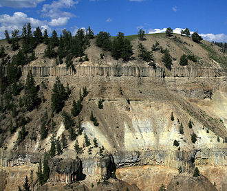 Columnar basalt flows in Yellowstone National Park, USA Basalt columns in yellowstone 2.jpg