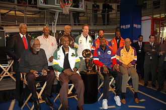 NBA Store - Former NBA players at the New York store in 2005. The store hosts several events with NBA players.