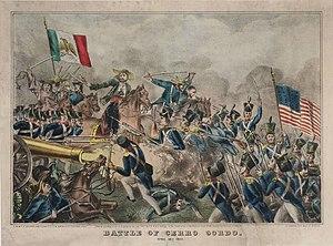 Die Schlacht von Cerro Gordo 1847, zeitgenössische Darstellung