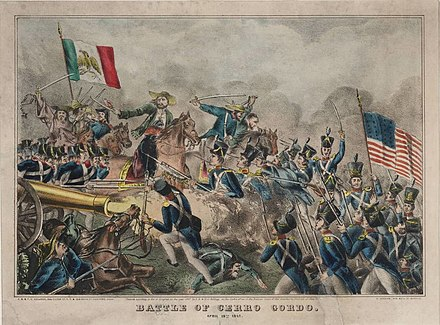 The Battle of Cerro Gordo in 1847. The battle saw American soldiers outflank Mexican soldiers. Batalla de Cerro Gordo.jpg