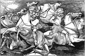 Lays of Ancient Rome - John Reinhard Weguelin, Castor and Pollux fighting at the Battle of Lake Regillus, from the 1881 edition.