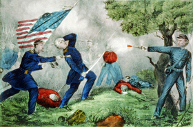 Mort du Col. Edward D. Baker durant la bataille de Ball's Bluff, par Currier and Ives.