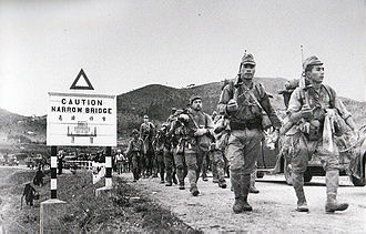 British Hong Kong - Japanese Army crossing the border from the mainland, 1941