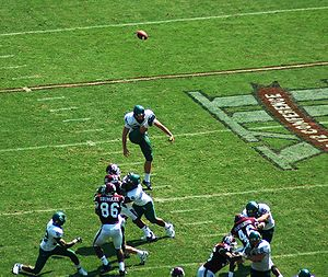 Punt (gridiron football) - The Baylor Bears punting against the Texas A&M Aggies in 2007