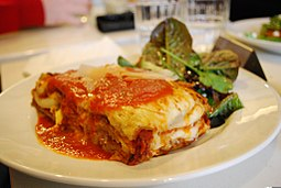 Beef lasagna at Cafe Stax, July 2009