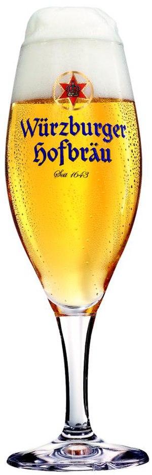 Würzburger Hofbräu - Glass showing the brewery's logo