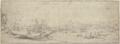 Bei einer ruinierten Festung eine Brücke über einen mit Kähnen befahrenen Fluß, links ein großes Schiff (SM 1265z).png