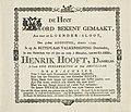 Bekendmaking van het overlijden van Hendrik Hooft Danielsz. 1794, RP-P-OB-86.345.jpg