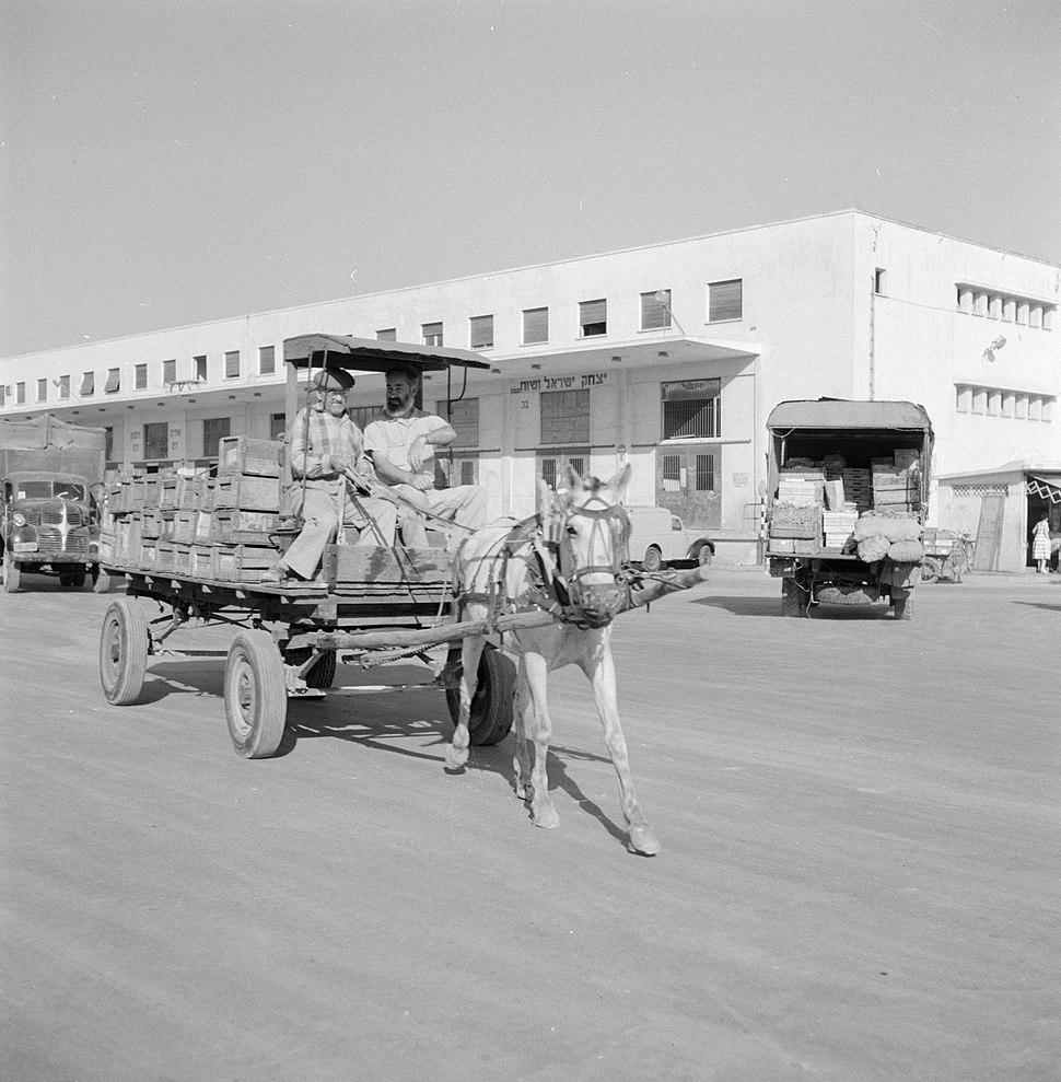 Beladen paard en wagen voor een levensmiddelenveiling met op de achtergrond het , Bestanddeelnr 255-1901