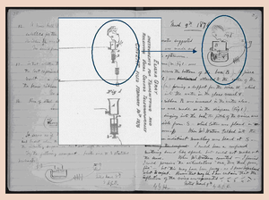Elisha Gray - Excerpts from Elisha Gray's patent caveat of February 14 and Alexander Graham Bell's lab notebook entry of March 9, demonstrating their similarity.