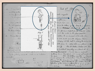 Elisha Gray and Alexander Bell telephone controversy - Excerpts from Elisha Gray's patent caveat of February 14 and Alexander Graham Bell's lab notebook entry of March 8, demonstrating similarities.