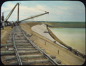 National Register of Historic Places listings in Butte County, South Dakota - Image: Belle Fourche Project Dam, Upstream Face placing the paving South Dakota NARA 294654
