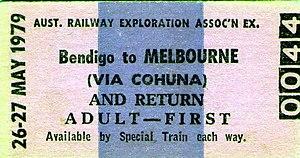 Cohuna railway line - Bendigo-Cohuna rail ticket 1979
