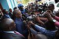 Beni, province du Nord Kivu, RD Congo - Le Représentant spécial du Secrétaire général des Nations Unies, Maman Sidikou , répondant aux questions des journalistes, après sa rencontre avec le maire de Beni. (22904174263).jpg