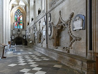 Baron Berkeley - Three Berkeley tombs in St Augustine's Abbey, Bristol (now Bristol Cathedral), founded by Robert FitzHarding, 1st. feudal baron. South wall of south aisle, looking eastward, in receding order: 4th. feudal baron (1243), 7th. feudal baron (1326), 6th. feudal baron (1321). A further chest tomb exists in the Lady Chapel with effigies of the 9th feudal baron (1368) and his mother Margaret Mortimer, Baroness Berkeley (d.1337). Many other Barons Berkeley are buried here.