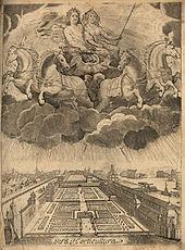 Berlin, Lustgarten auf der Spreeinsel, darüber der Große Kurfürst und seine Ehefrau, um 1670 (Quelle: Wikimedia)