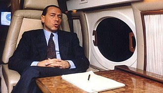 Silvio Berlusconi - Berlusconi in his private jet, in the 1980s