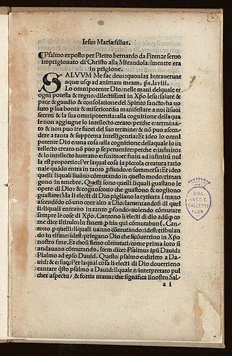 Psalm 68 - Pietro Bernardino, Esposizione del salmo 68, 1500