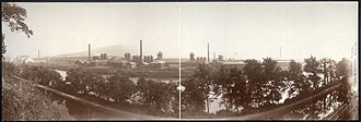 Bethlehem, Pennsylvania - The Blast furnaces of Bethlehem Steel seen in a panoramic view from the north bank of the Lehigh River. South Mountain is in the distance. (c. 1896).