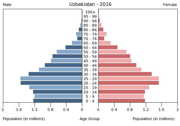 Bevölkerungspyramide Usbekistan 2016