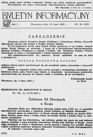 Polish Underground State - Polish Underground State's underground Information Bulletin, 15 July 1943, reports the death of Gen. Sikorski and orders a national day of mourning