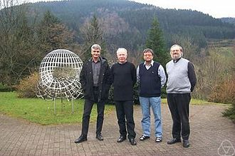 Dieter Jungnickel - From left: Aart Blokhuis, James William Peter Hirschfeld, Dieter Jungnickel, and Joseph A. Thas, at the MFO, 2001