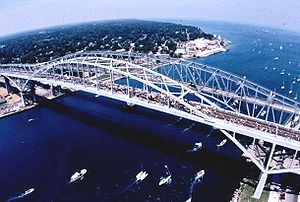 St. Clair River - Head of river looking into Lake Huron, showing the twin Blue Water Bridge